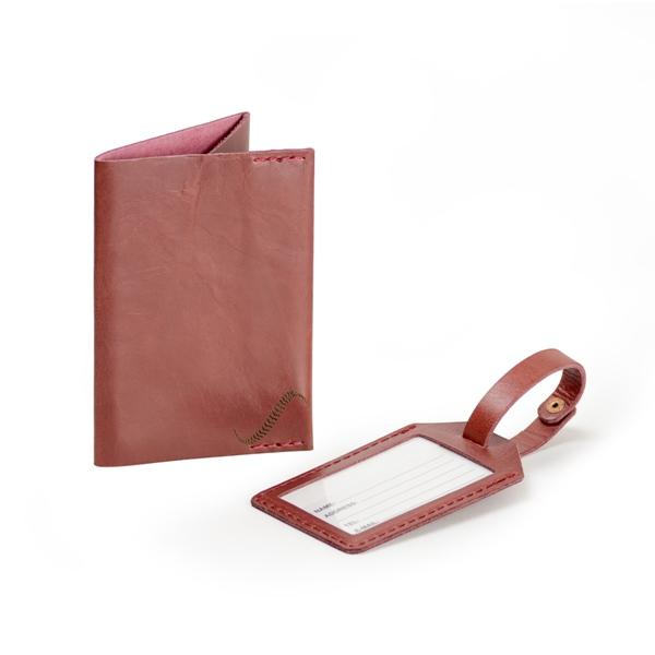 Leather passport holder and luggage tag