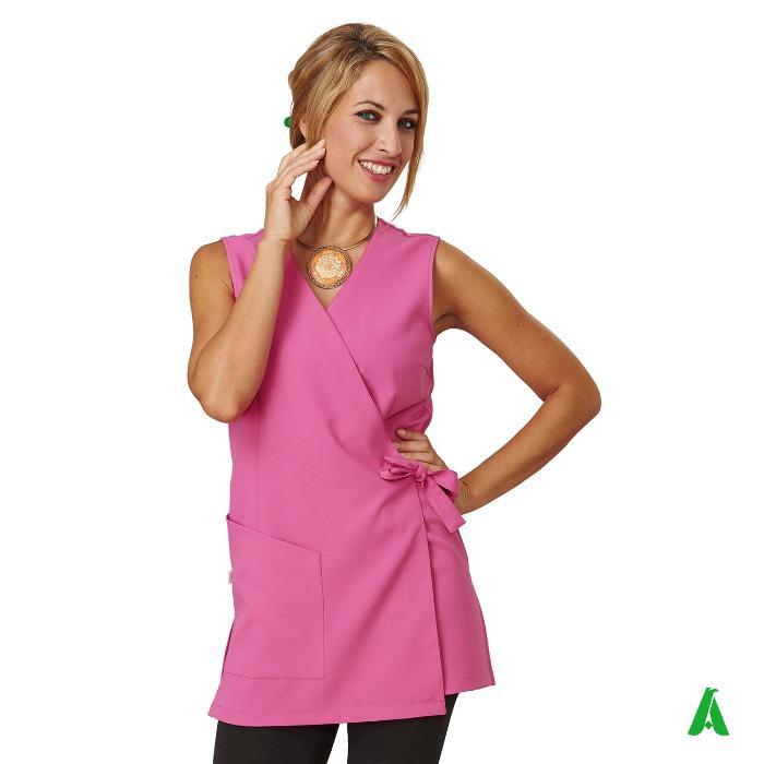 Scamiciato tessuto antimacchia per beauty center - Scamiciato con scollo a V, lacci di chiusura sul davanti completo di tasche