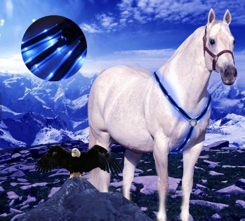 battery flashing led light horse harness - chest and neck LED Flashing Horse Harness