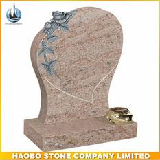 Germany Style Indian Juparana Granite Modern Tombstone With Rose Sculpture