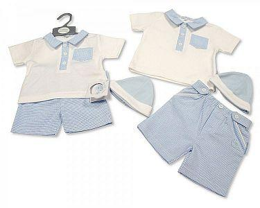 Baby Boys 2 Pieces Shorts Set with Hat - Dino  -