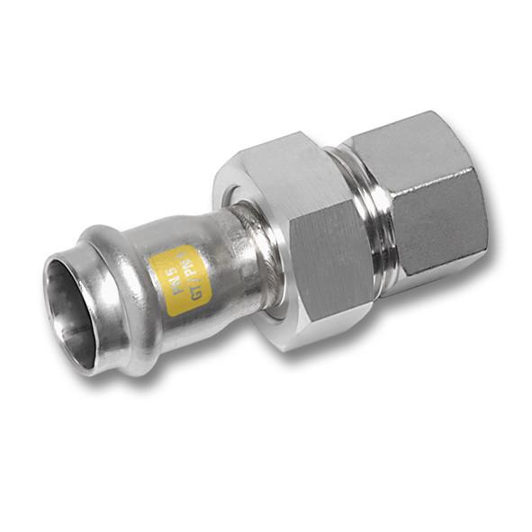 NiroSan® Gas stainless steel piping system, Union - NiroSan® Gas Union with flat seal, stainless steel nut, with f end and f thread