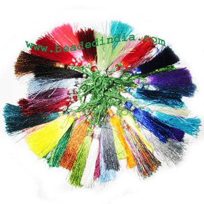 Silk Tassels 2 inch long, assorted color pack of 500 pcs., u - Silk Tassels 2 inch long, assorted color pack of 500 pcs., used in mala, necklac
