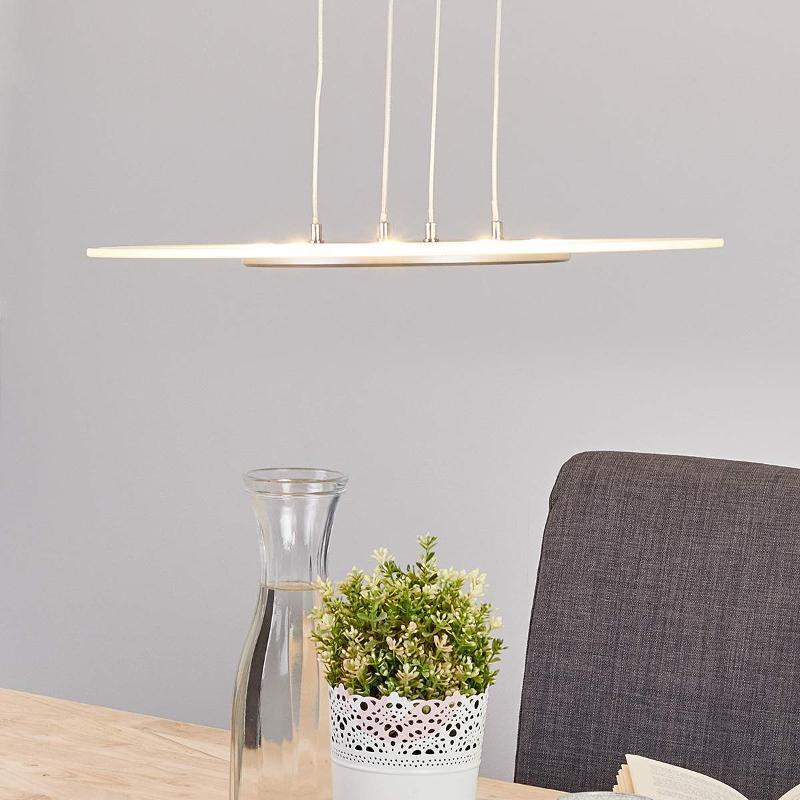 Dora LED pendant light with round, glass shade - Pendant Lighting
