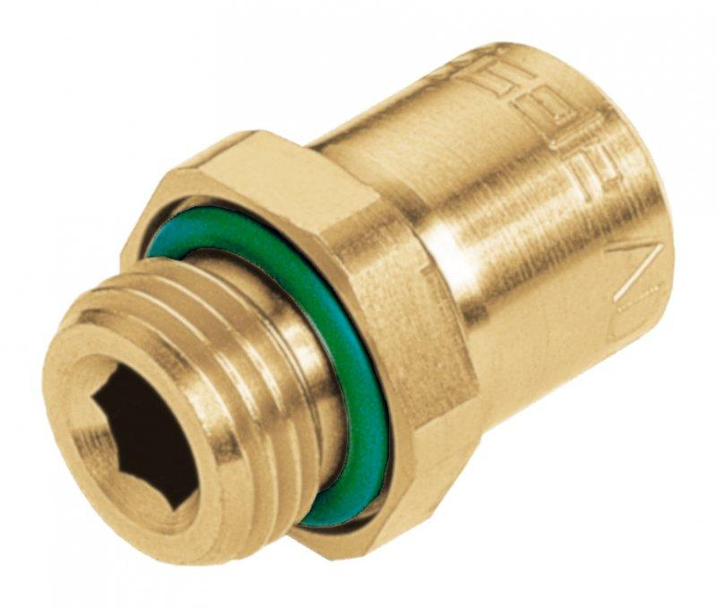 Straight screw-in connector - VT2428 - Dezincification resistant brass, push-in fitting, for cooling water