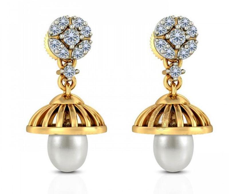 Gold and Pearl Jhumka Earrings -