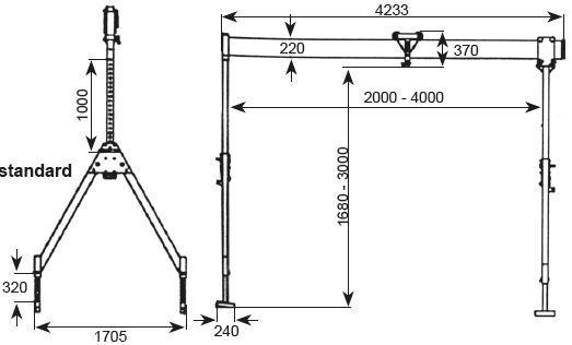 Portiques de levage - Portique en aluminium type PALU-2