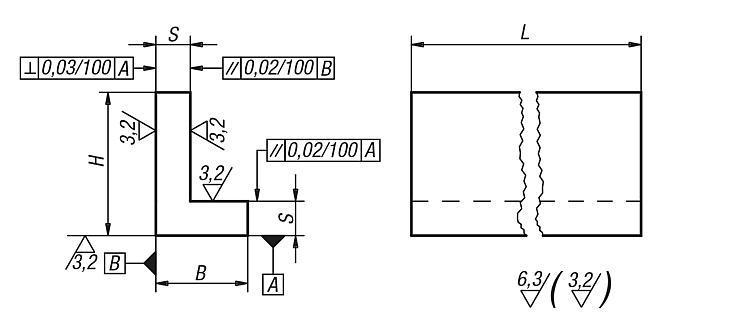 Profil en L inégal Fonte grise et aluminium - Profilés