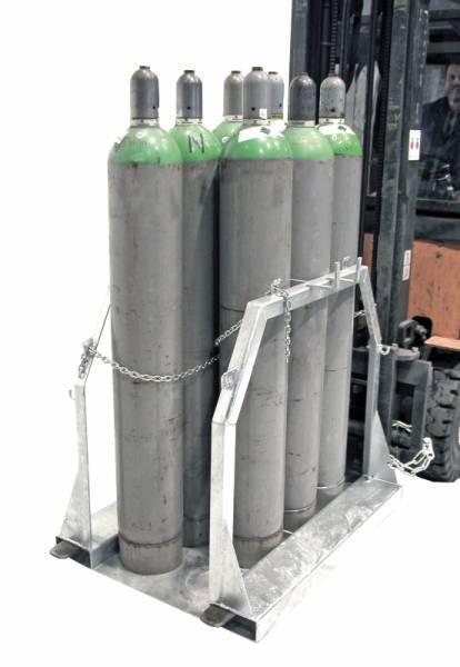 Stahlflaschen-Palette Typ SFP - Für den sicheren und kraftschonenden Transport von 1 bis 8 Stahlflaschen
