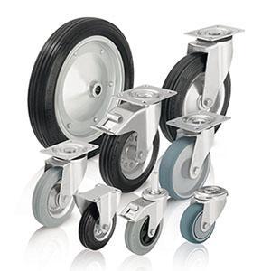 Rodas e rodízios de borracha - Rodas e rodízios com pneus de borracha maciça normal e rasto de borracha