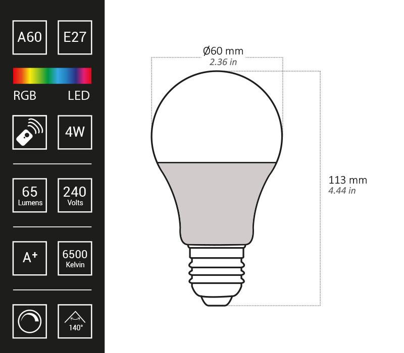 Remote Control Colour Changing RGB LED Bulb - A60, 4W, 65lm - In stock