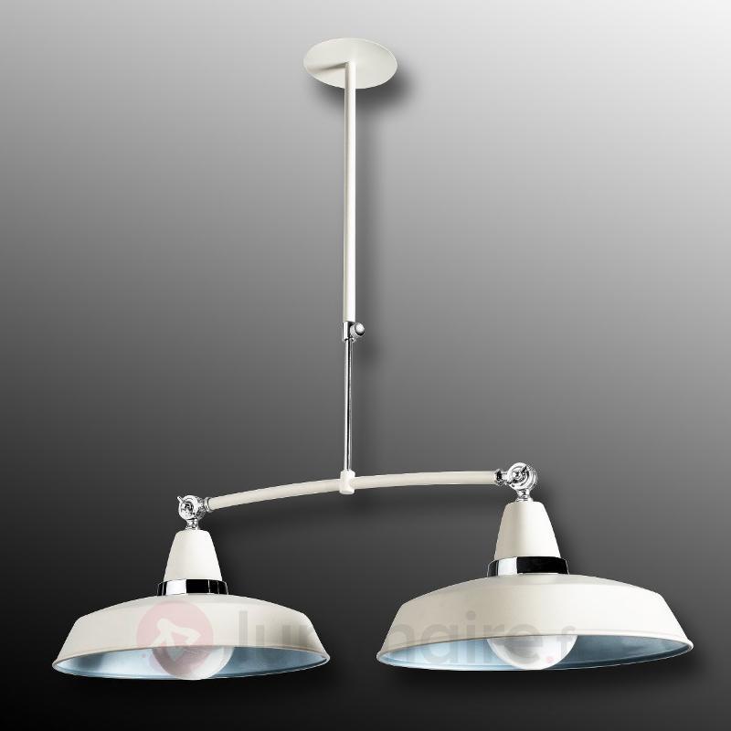 Suspension Vintage blanche et bleue à 2 lampes - Cuisine et salle à manger