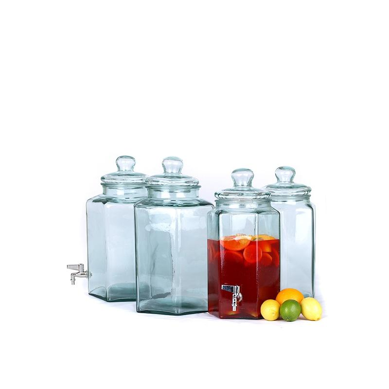 Hexagonal Recycled Glass beverage dispenser - 11,5 liters with spout