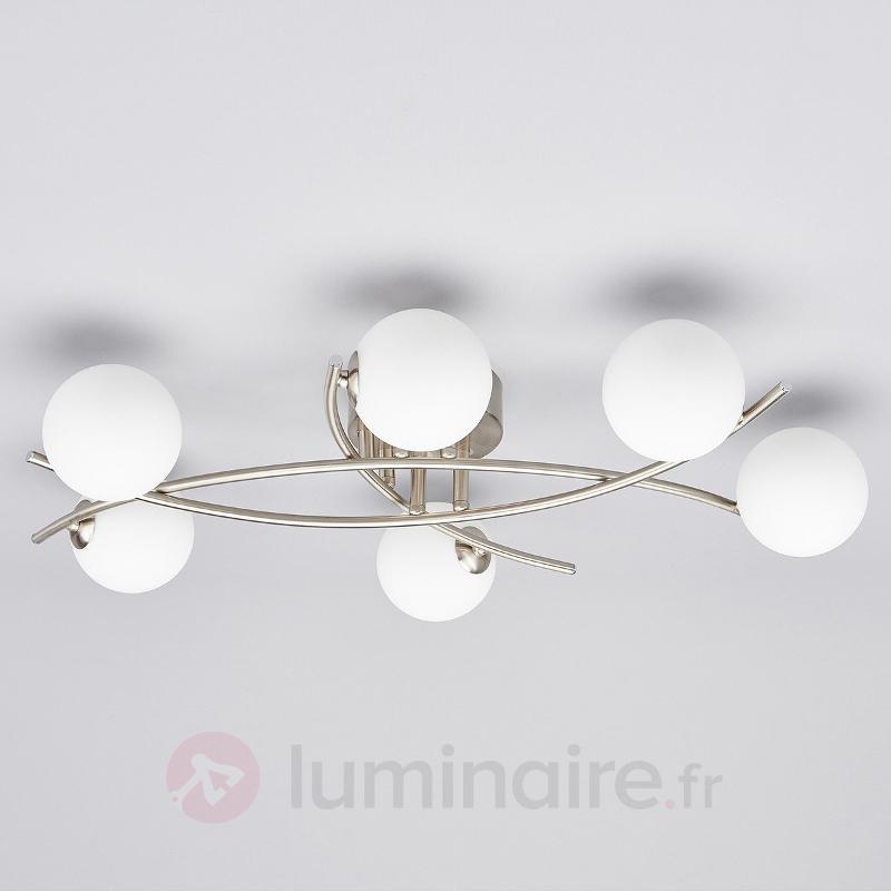 Joli plafonnier à boules de verre Jonara - Plafonniers chromés/nickel/inox