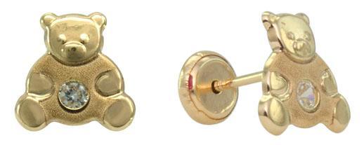 Gold bear stud earring -