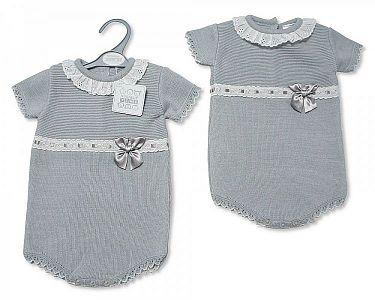 Knitted Spanish Style Baby Romper with Bow  -