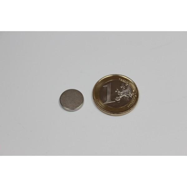 Neodymium disc magnet 12x2mm, N45, Ni-Cu-Ni, Nickel coated - Disc