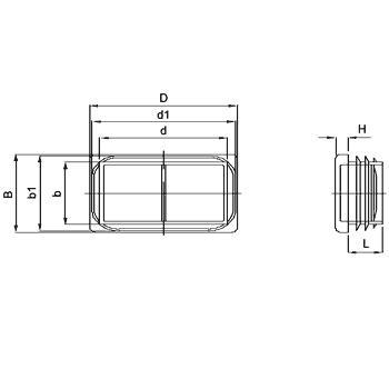 N250 RE Embouts rectangulaires à ailettes - Pièces de finition
