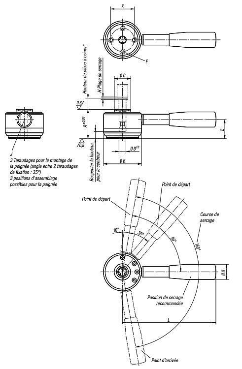 Vérin à tirer avec levier modèle lourd - Éléments de positionnement
