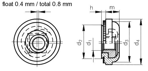 Self-clinching fasteners - PEM® - Floating self-clinching nuts