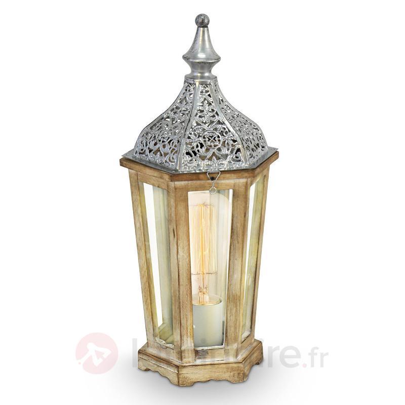 Lampe à poser en bois conception antique Margrit - Lampes à poser en bois