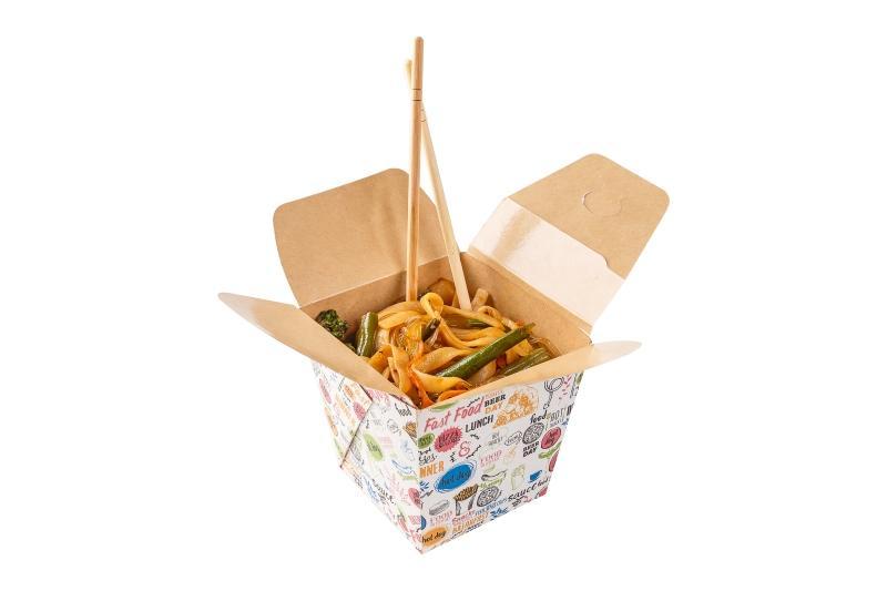 """Noodle Box (assembled) «Enjoy» - Kraft noodle box with """"Enjoy"""" print"""