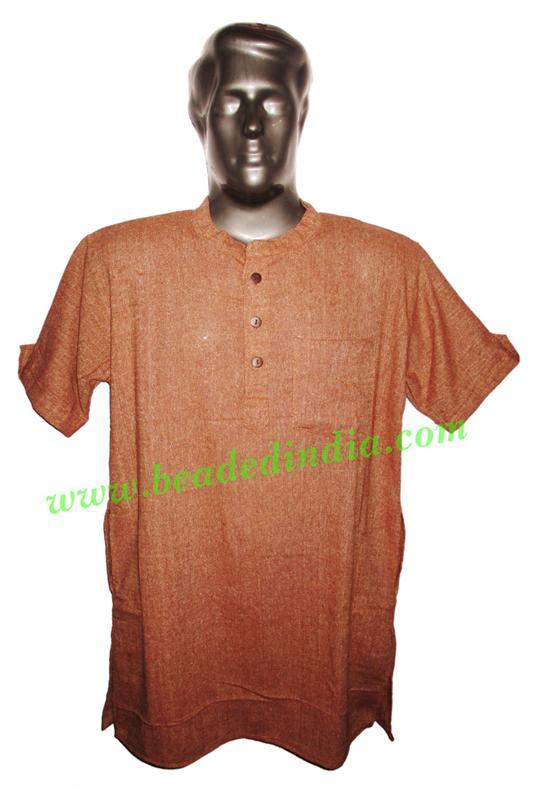 half sleeve long khadi yoga kurta, size : chest 50 x height  - half sleeve long khadi yoga kurta, size : chest 50 x height 34 inches (extra lar