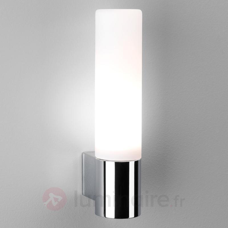 Applique pour salle de bains avec verre blanc - Appliques chromées/nickel/inox