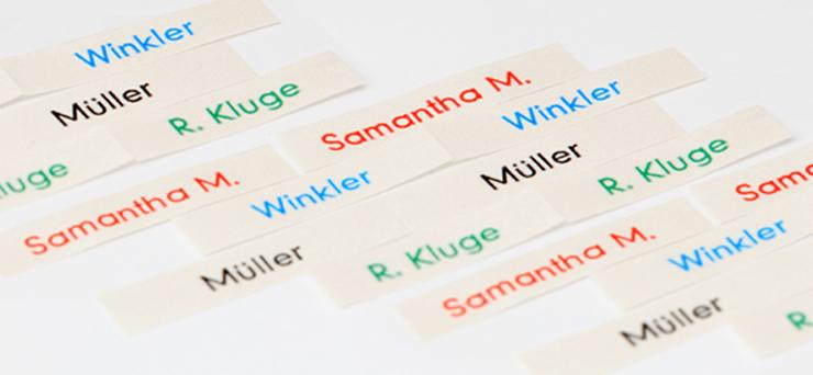 printed name labels - null