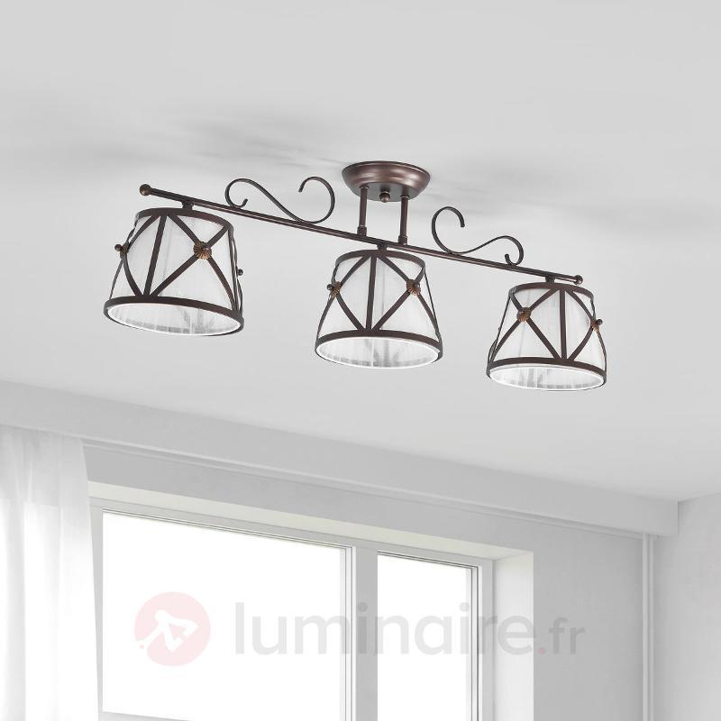 Plafonnier en organza à 3 lampes Country - Plafonniers en tissu