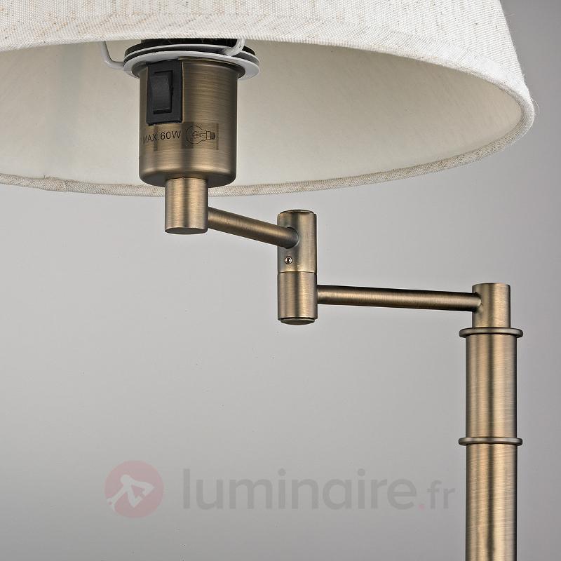 Jolie lampe à poser Pola, support couleur bronze - Lampes à poser en tissu