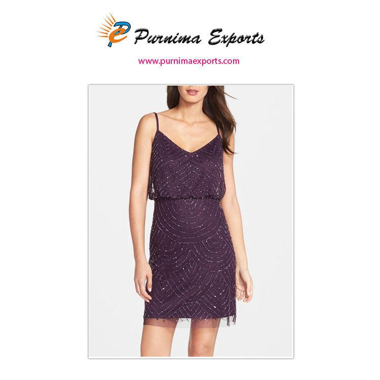 Short Evening Dresses Manufacturer, Exporter and Suppliers - Hand Embroidered with Bugle Glass Beads - Evening Wear Wholesale