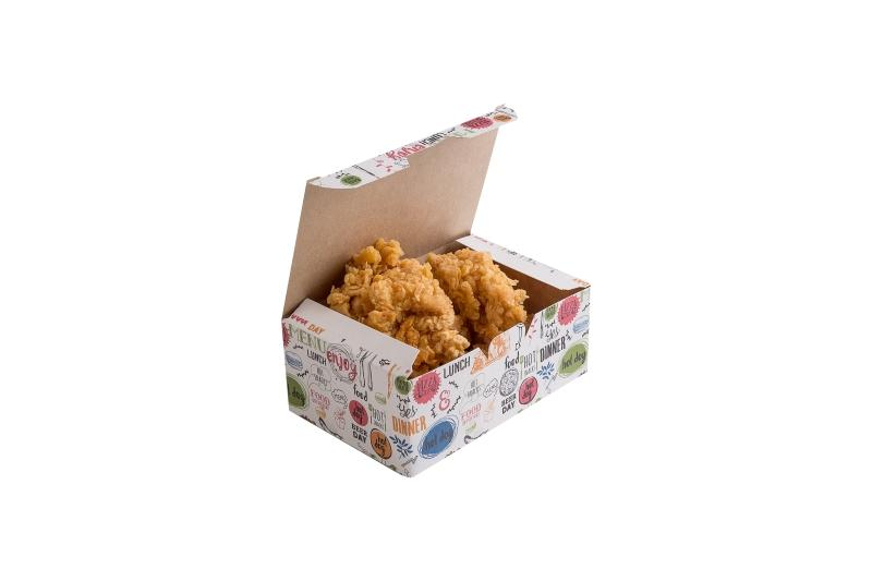 "Nugget Box «Enjoy» - Kraft box with ""Enjoy"" print for nuggets, french fries and onion rings"