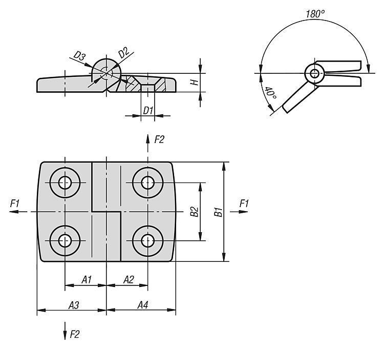 Charnière dégondable en thermoplastique, à gauche - Charnières