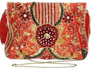 Indian Banjara embroidery Zari Kundan Clutch bag Hand Purse -
