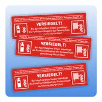 Sicherheitssiegel Brandschutz mit Logo - Größe: 60x20 mm 100x30 mm 60x20 mm Kundeneingabe Firmenschri