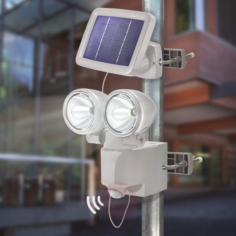 Solar PIR wall spotlight DUO IP44, grey - outdoor-led-lights