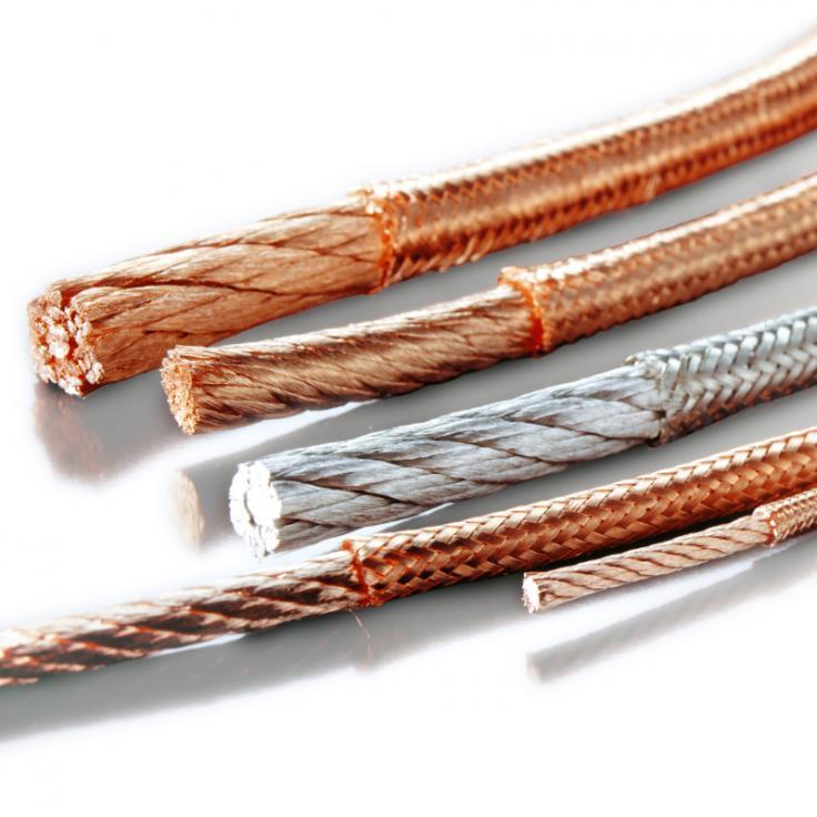 Umflochtenes Rundseil (Klöppellitze) - Hochflexible Kupferseile, welche zusätzlich mit Kupferdrähten umflochten sind