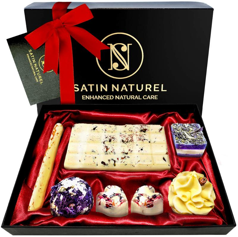 """Organic Bath Bombs Set 7 Pieces """"oasis Of Senses""""  - Hand-Made Gifts for Women- Elegant Present for Her with Essential Oils -Gift Set"""