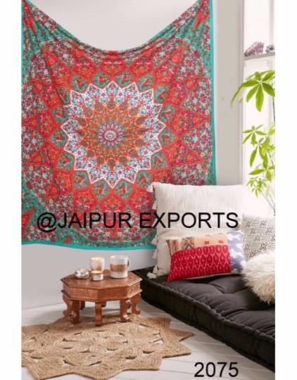 Indian Mandala Orange Star  Design hippie Bohemian Tapestry