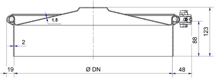 Trappe ronde à clamp - avec rétention - H07