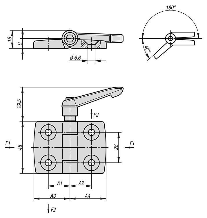 Cerniere in plastica, con funzione di serraggio - K0436