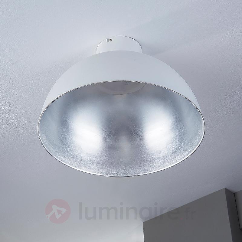Lya - plafonnier LED en blanc et argenté - Plafonniers LED