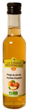 Vinaigre de Cidre Biologique au Piment d'Espelette  - 5 % d'acidité La Cigale Provençale