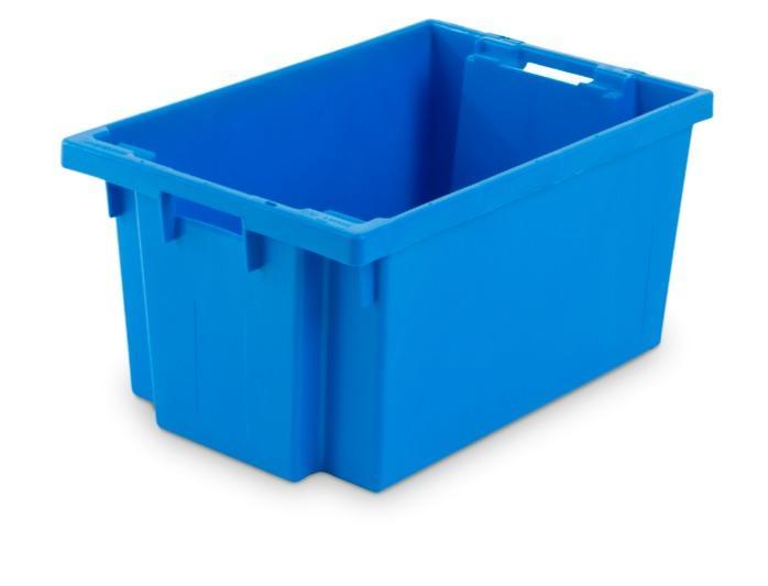 Caixas de plástico empilháveis e encaixáveis - com abertura nas pegas, 50L (fechada e/ou gradeada)