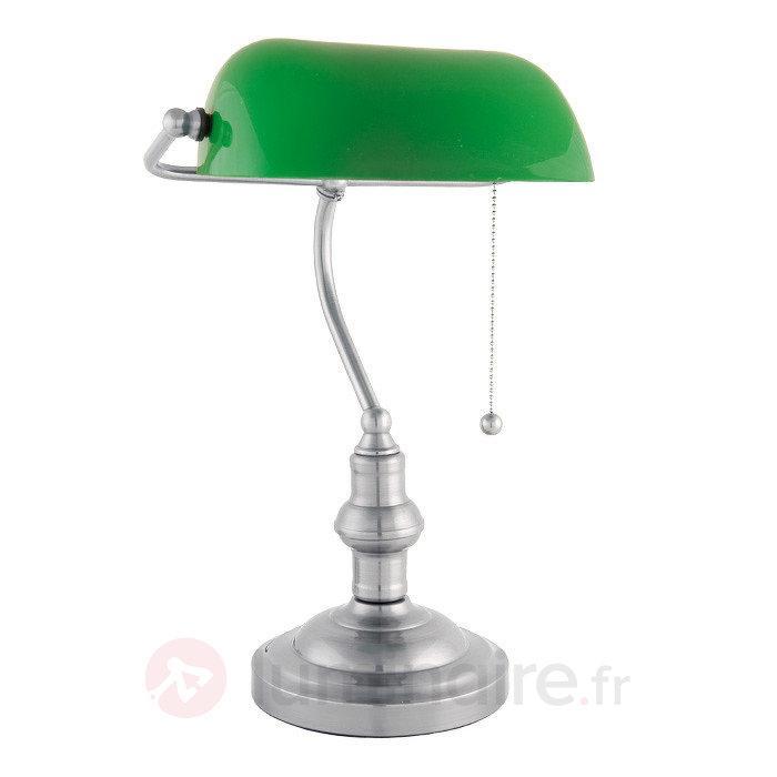 Lampe de banquier Verda avec pied en nickel - Lampes de bureau
