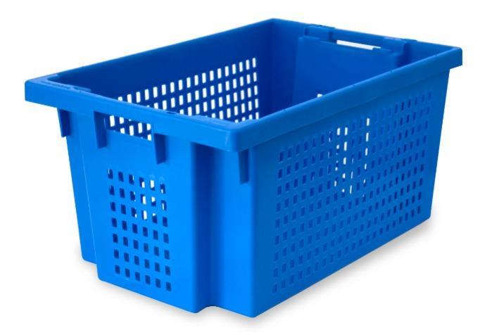 Contenitore in plastica inserible e sovrapponible  - con apertura nelle maniglie, 50L (chiuso  e /o forate)