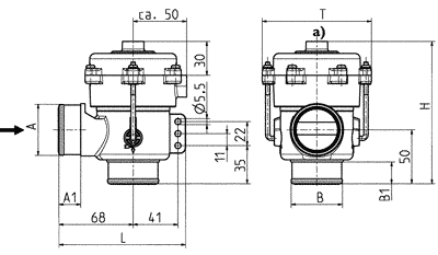 2/2-way drain valve, DN 40, vacuum controlled - 04.040.115