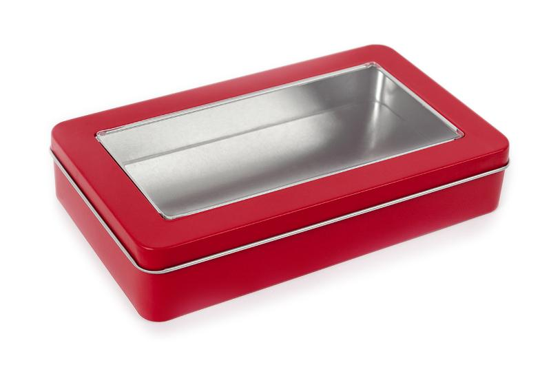 Rectangular tin with sliplid and window, red - null