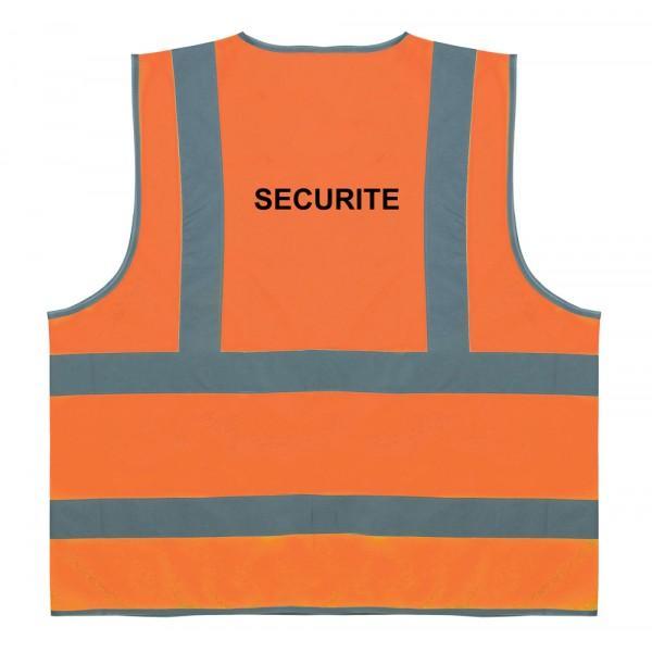 """Gilet de sécurité - Gilet de sécurité orange avec texte """"SECURITE"""""""